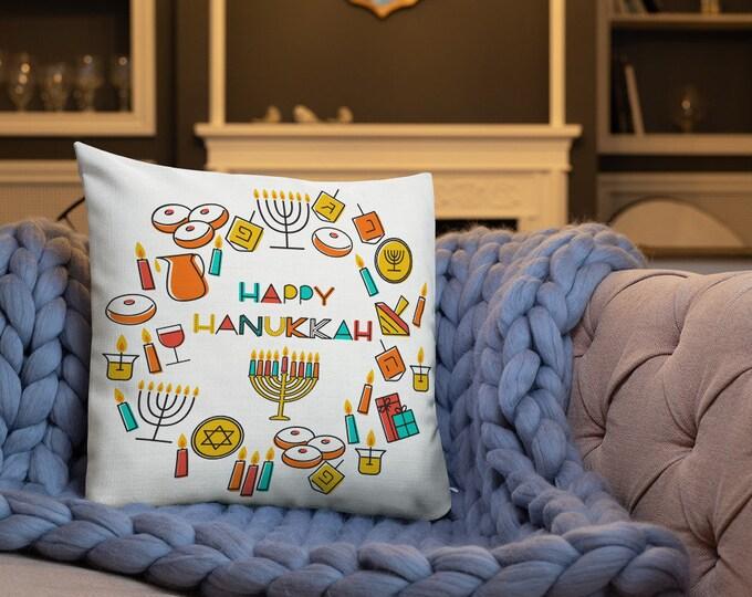 Happy Chanukah Chag Chanukah Sameach Two sided English/Hebrew Premium Pillow
