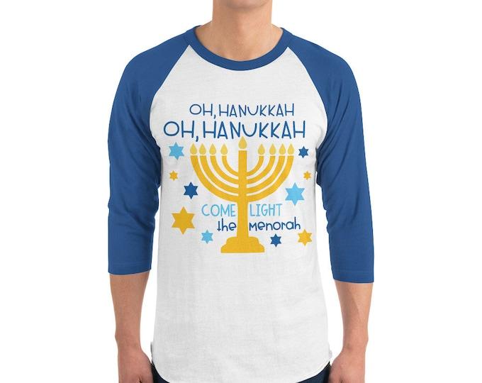 Happy Chanukah Music Lyric Baseball Tee