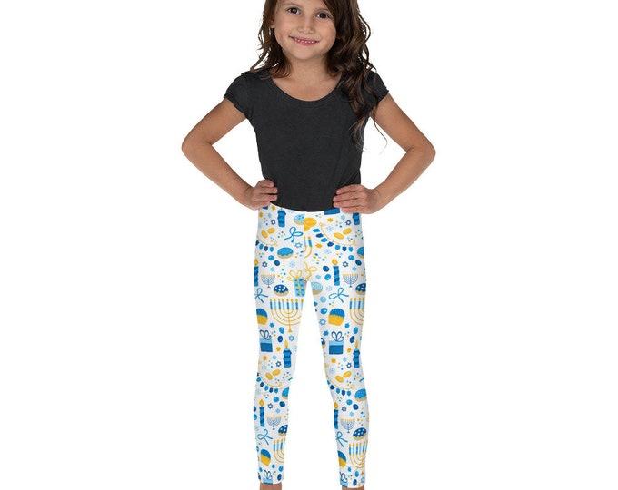 White and blue Chanukah Kid's Leggings