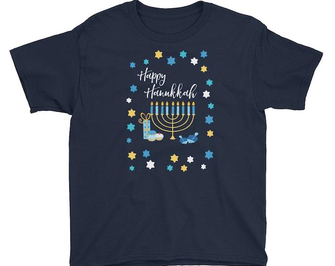 Hanukkah Kid's Tee Menorah Present Chanukah Gift Dreidel Boy Girl Jewish Chanukah Shirt