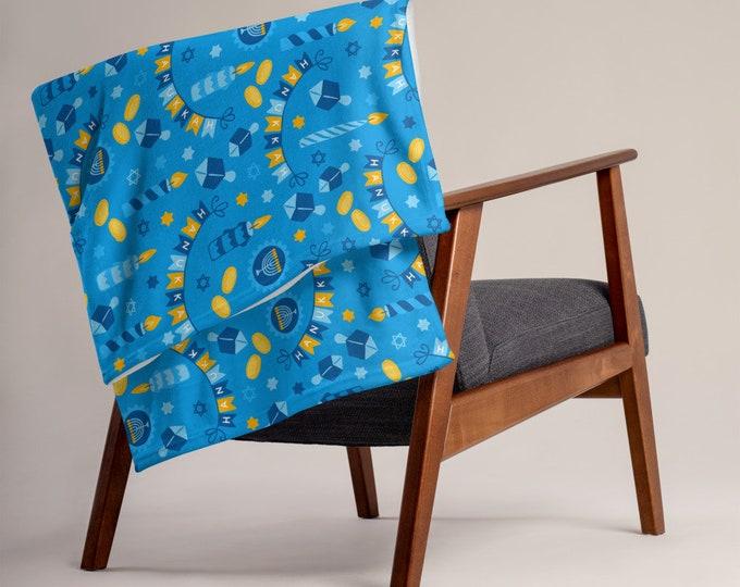 Chanukah Throw Blanket Hanukkah Decor Throw Gelt Dreidels Gift for Hostess Bubbie Jewish Mom