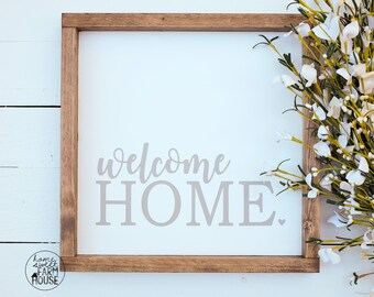 Welcome Home Sign, Hand Painted Framed Wood Sign, Farmhouse Sign, Modern Farmhouse Sign, Neutral Farmhouse Sign, Entryway Sign