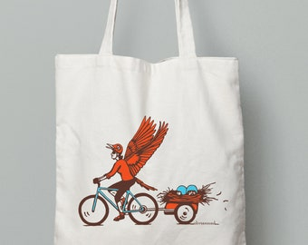 Gift for Cycling Women - Mama Bird Bicycle Tote Bag