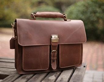Leather messenger bag, satchel, crossbody, 16 15 14 13 inch briefcase, laptop, weekender, overnight, mens, womens, travel luggage RH15