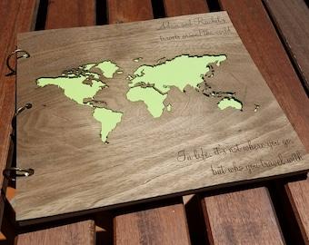 World Map Album Wood Engraved  Travel Album Wood  Photo Album Wood  Wood  Cover Family Album  World Traveler Gift Album  Travel Scrapbook 76bf306d57