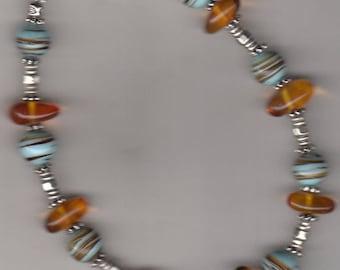 Diamantine handspun amber Lampwork Bead Bracelet