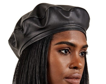 933a51dfe8c Black Leather Beret Hat