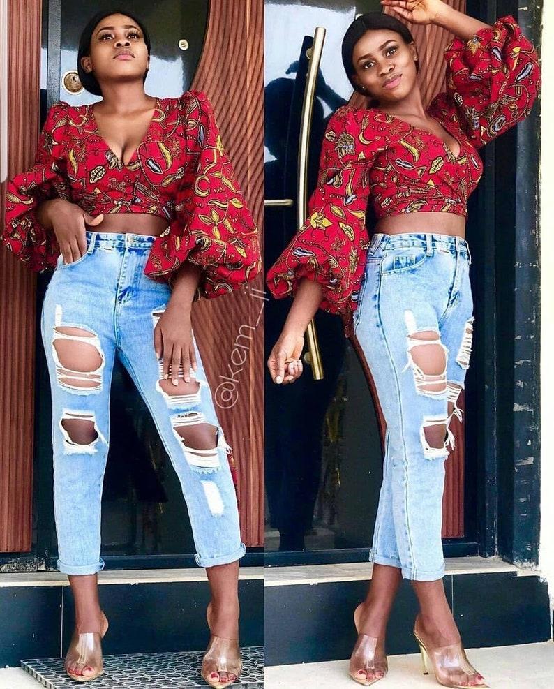 Tofe African print topsAnkara wrap topAfrican print wrap image 0