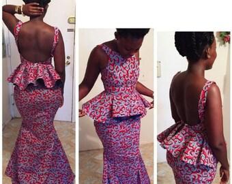 Backless African print peplum dress, floor length, african clothing, african dress, the african shop, african wedding dress, african outfit