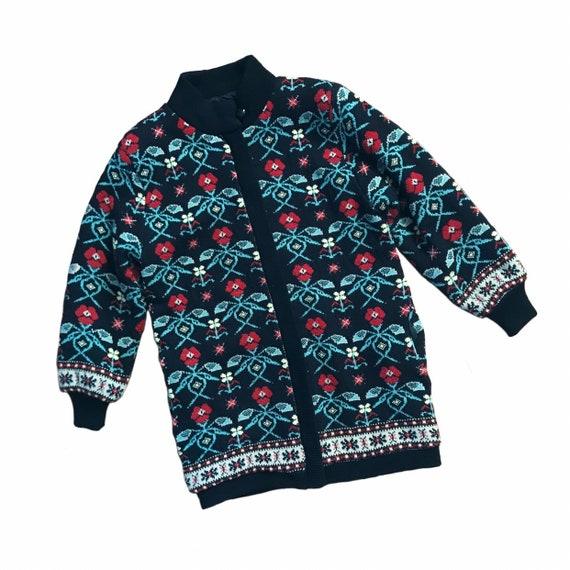 Vintage Fair Isle Floral Long Sweater Jacket