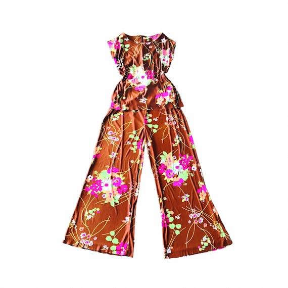 Authentic Vintage Two-Piece Floral Pant Set