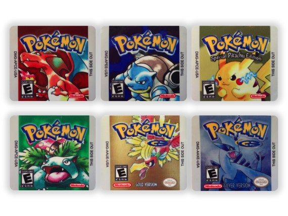 Pokemon Red Blue Yellow Gold Silver Green Version Set Of 6