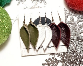 Leather Earrings / Multi-Pack / FREE SHIPPING /  Style / Leaf / Petal / 3-pair / Olive, Blackberry, White / Small / Holiday