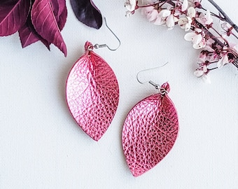 "Genuine Leather Earrings / Metallic Rose / Leather Leaf Earrings / Pink Earrings / Boho Style / Aella V Jewelry / Gift / Medium / 2.5""x1.25"""