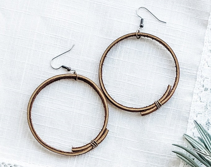 Brown Leather Hoop Earrings / Rustic Hoop Earrings / Minimal Hoop Earrings / Boho Style / Gift for her / Aella V Jewelry / 2.25 x 2.25""