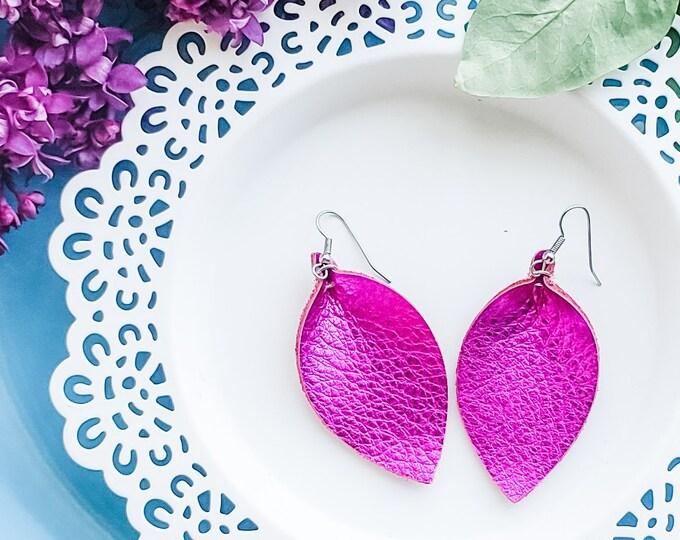 """Genuine Leather Earrings / Metallic Fuchsia / Leather Leaf Earrings / Pink Earrings / Boho Style / Aella V Jewelry / Medium / 2.5""""x1.25"""""""