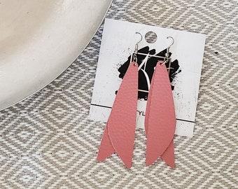 """Leather Earrings / Dusty Rose / Pixie Style / Dragonfly Wings / Fairy Wings / Dangle Earrings / Handmade / Aella V Jewelry / 3""""x .75"""""""