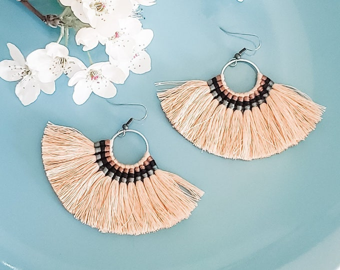Large Hoop Fan Tassel Earrings, Taupe Fan Earrings, Tassel Jewelry, Large Fan Earrings, Large Fringe Earrings, Statement Jewelry, Bold Style