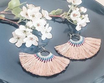 Large Hoop Fan Tassel Earrings, Gray Fan Earrings, Tassel Jewelry, Large Fan Earrings, Large Fringe Earrings, Statement Jewelry, Bold Style