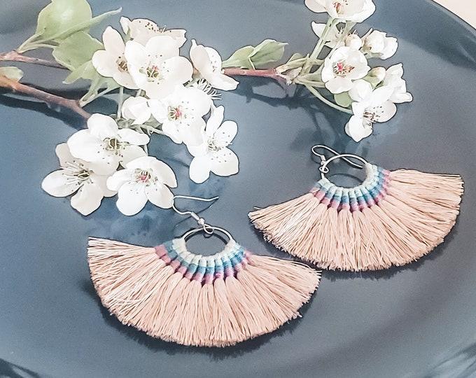 Large Hoop Fan Tassel Earrings, Gray Fan Earrings, Tassel Jewelry, Large Fan Earrings, Large Fringe Earrings, Statement Jewelry, Bold Style