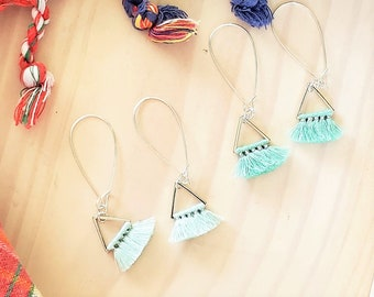 Triangle Fan Tassel Earrings, Mint Green or Baby Blue, Tassel Jewelry, Small Tassel Earrings, Small Fringe Earrings, Dainty Jewelry, Minimal
