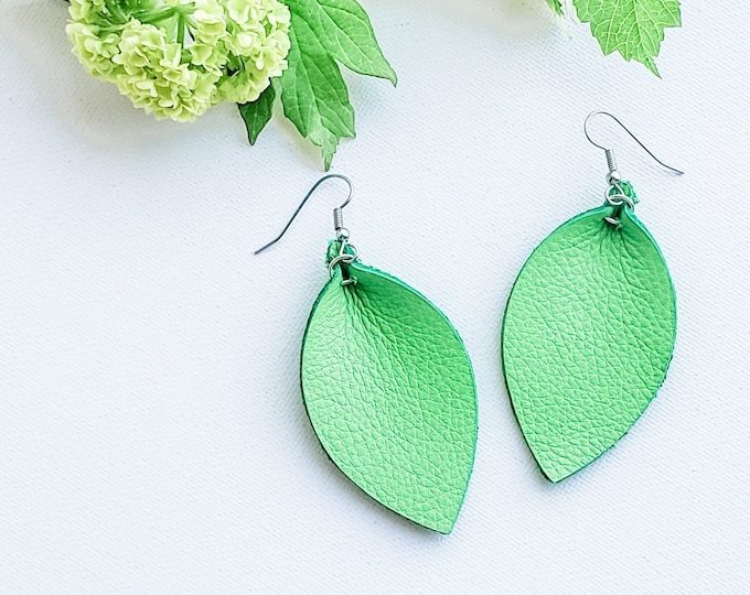 "Leafy Green / Genuine Leather Earrings / Leather Leaf Earrings / Medium / 2.5""x1.25""/ Pinched Leaf Earrings / Boho Style / Aella V Jewelry"
