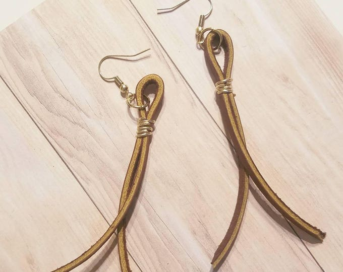 "Brown Leather String Earrings / FREE SHIPPING/   Inspired/ Postman/ Medium/ 3.5""/ Silver, Gold or Antique Brass"