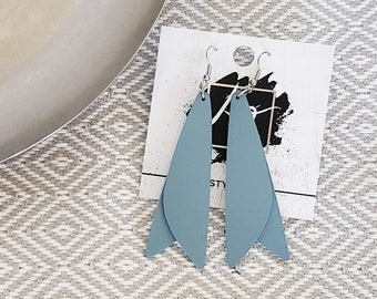 """Leather Earrings / Dusky Blue / Pixie Style / Dragonfly Wings / Fairy Wings / Dangle Earrings / Handmade / Aella V Jewelry / 3""""x .75"""""""