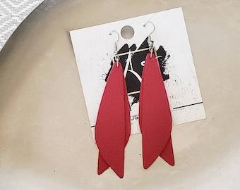 """Leather Earrings / Raspberry / Pixie Style / Dragonfly Wings / Fairy Wings / Dangle Earrings / Handmade / Aella V Jewelry / 3""""x .75"""""""