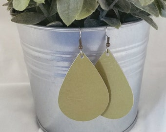 Green Tea Leather Earrings/ Leather Teardrop Earrings / Green Leather Earrings / Green Earrings / Teardrop Earrings /  / Spring