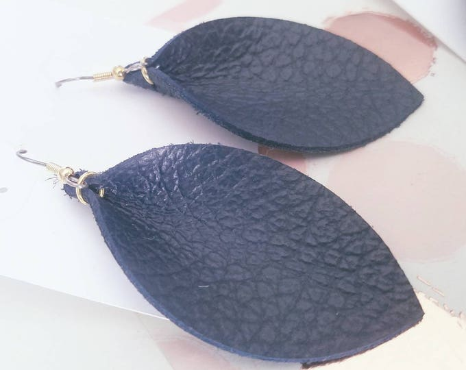 """Navy Blue / Leather Statement Earrings / FREE SHIPPING / Joanna Gaines Magnolia Zia Inspired/ Leaf Shape/ Medium/ 2.5""""x1.25""""/ Hypoallergenic"""