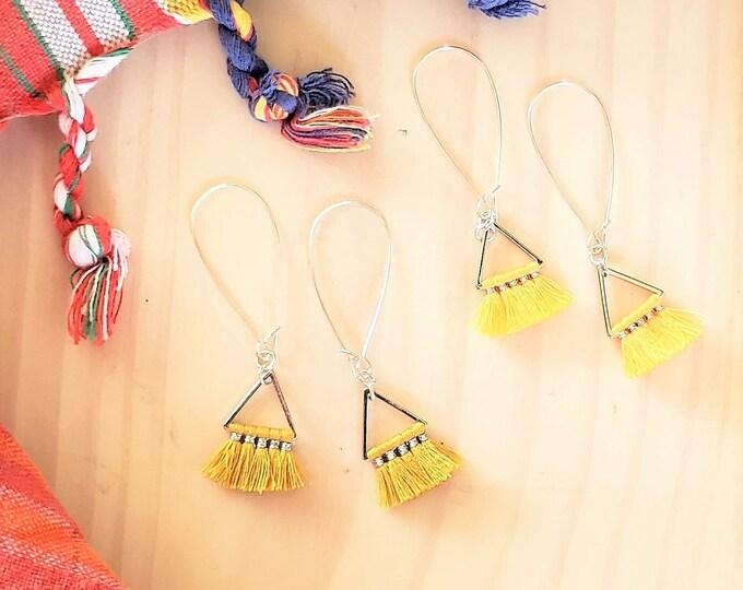 Triangle Fan Tassel Earrings, Lemon or Sunflower Yellow, Small Tassel Earrings, Small Fringe Earrings, Dainty Jewelry, Minimalist Earrings