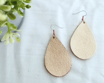 Rose Gold Leather Earrings / Leather Teardrop Earrings / Metallic Leather Earrings / Rose Gold Earrings / Teardrop Earrings /