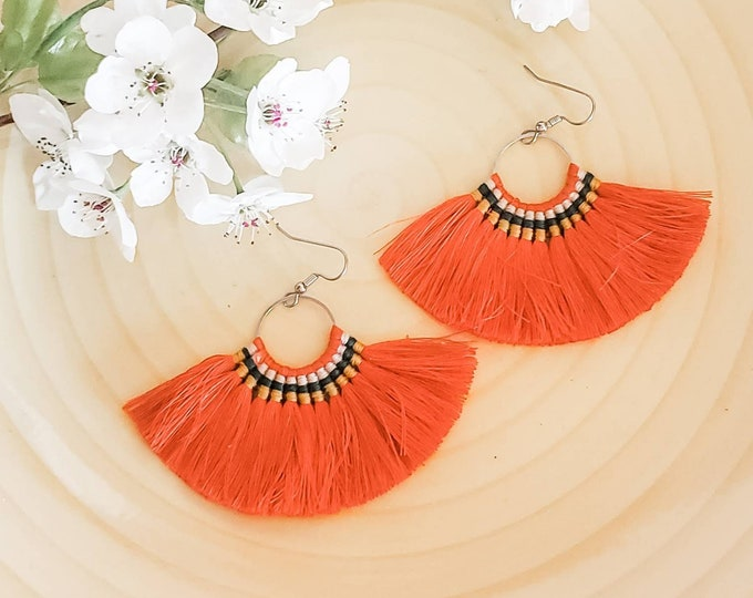 Large Hoop Fan Tassel Earrings, Orange Fan Earrings, Tassel Jewelry, Large Fan Earrings, Large Fringe Earrings, Statement Jewelry, Bold