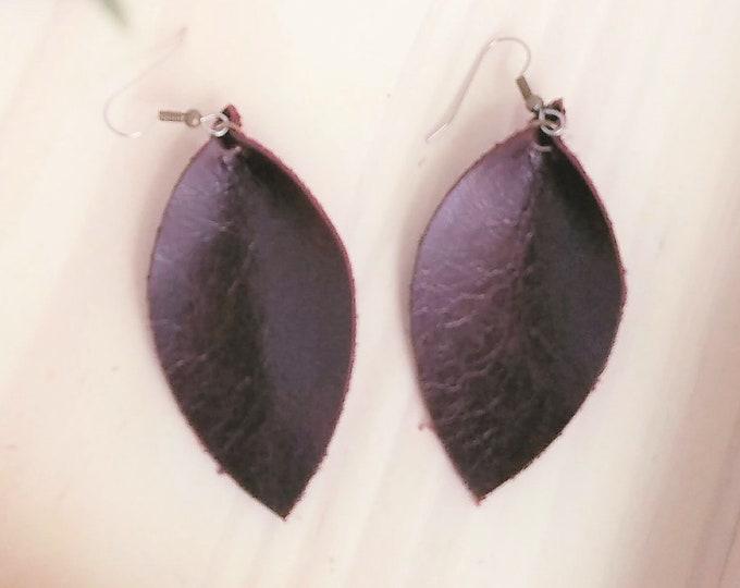 Blackberry / Leather Earrings /  /  / Statement Earrings / Leaf Earrings / Leather Leaf Earrings / Gift Idea