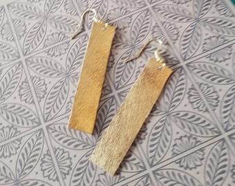 "Matte Metallic Gold / Leather Earrings / FREE SHIPPING /   /Simple Bar Shape / Medium / 2""x.5""/ Hypoallergenic"