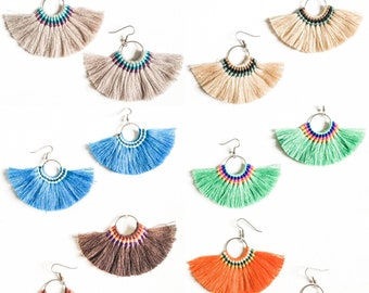 Large Hoop Fan Tassel Earrings, Choice of Color or Buy as Set, Tassel Jewelry, Large Fan Earrings, Large Fringe Earrings, Statement Jewelry