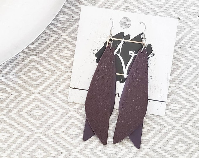 "Leather Earrings / Eggplant / Pixie Style / Dragonfly Wings / Fairy Wings / Dangle Earrings / Handmade / Aella V Jewelry / 3""x .75"""