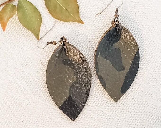 "Genuine Leather Leaf Earrings / Green Camo / Boho Style / Camo Earrings / Aella V Jewelry / Medium / 2.5""x 1.25"""