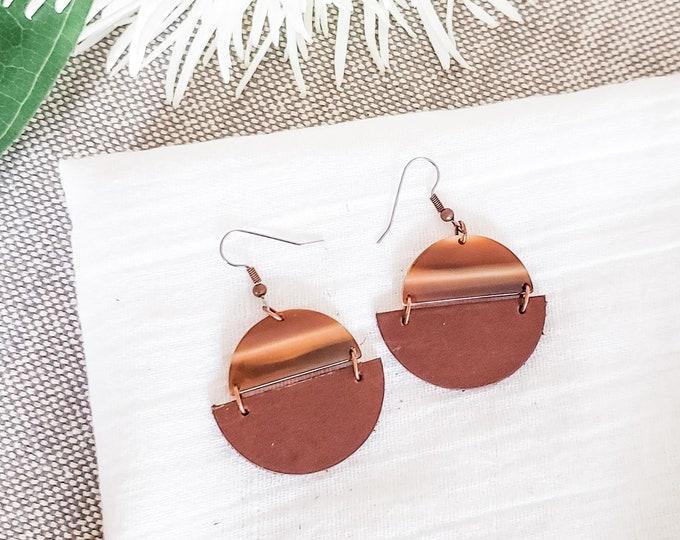 Geometric Leather & Acrylic Resin Statement Earrings, Half Moon Semi Circle Earrings, Lightweight Earrings, Mod Boho Earrings, Brown / Cream