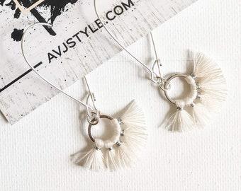 Small Hoop Fan Tassel Earrings, Cream Earrings, Tassel Jewelry, Small Tassel Earrings, Small Fringe Earrings, Dainty Jewelry, Minimal, Hoop