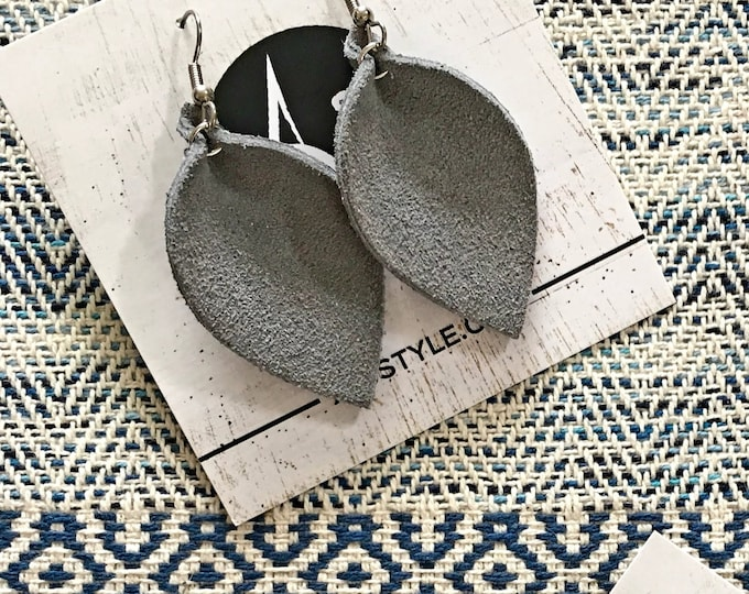 Grey Suede Leather Leaf Earrings / Leather Earrings / Leaf Earrings / Genuine Leather Suede /  Style / Statement Earrings