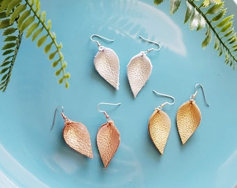 Leather Earrings / Multi-Pack / Metallics /  Earrings / Leaf / Petal / 3-pair / Gold, Chromed Silver, Rose Gold / Small