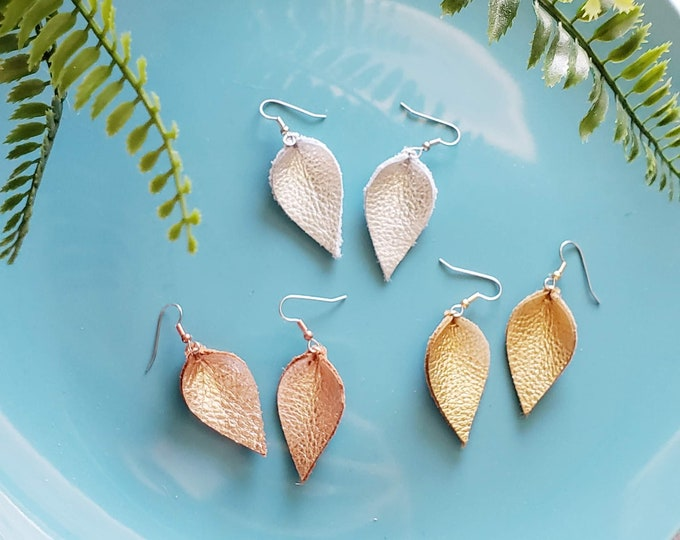 Leather Earrings / Multi-Pack / Metallics / Joanna Gaines Earrings / Leaf / Petal / 3-pair / Gold, Chromed Silver, Rose Gold / Small