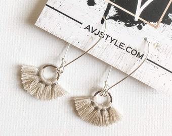 Small Fan Tassel Earrings, Natural White Earrings, Tassel Jewelry, Small Tassel Earrings, Small Fringe Earrings, Dainty Jewelry, Minimal