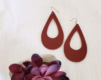 Cinnamon Leather Teardrop Earrings / Cutout Leather Earrings / Statement Earrings / Bold Fashion / AellaVJewelry / Large / 3.25 x 2""