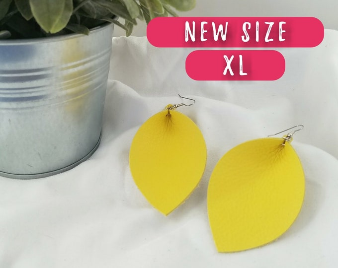 "Daffodil / Leather Statement Earrings / FREE SHIPPING / Joanna Gaines / Magnolia Market / Zia / Leaf / X-Large/ 3.25 X 2.25""/ Hypoallergenic"