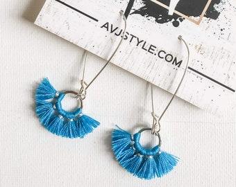 Small Hoop Fan Tassel Earrings, Blue Earrings, Tassel Jewelry, Small Tassel Earrings, Small Fringe Earrings, Dainty Jewelry, Minimal, Hoop