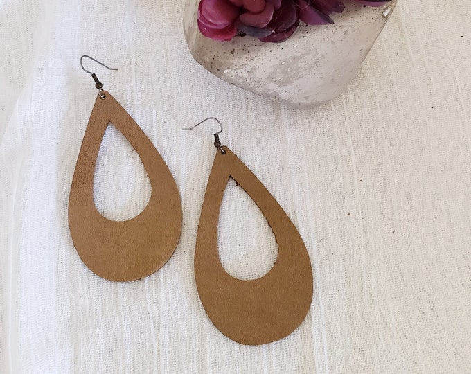 Rustic Taupe Leather Teardrop Earrings / Cutout Earrings / Statement Earrings  / Bold Style / AellaVJewelry / Large / 3.25 x 2""