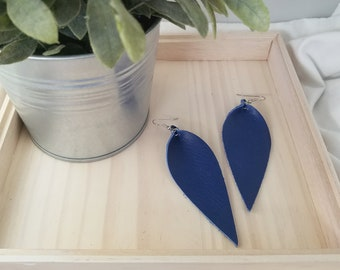 "Cobalt Blue / Leather Statement Earrings / FREE SHIPPING/ Joanna Gaines / Zia Inspired / Leaf / Lrg / 3.25""x1.25""/ Hypoallergenic / Spring"